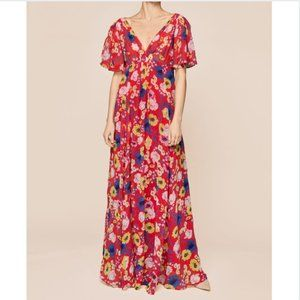 ByTimo Delicate Semi V-Neck Floral Red Maxi Gown